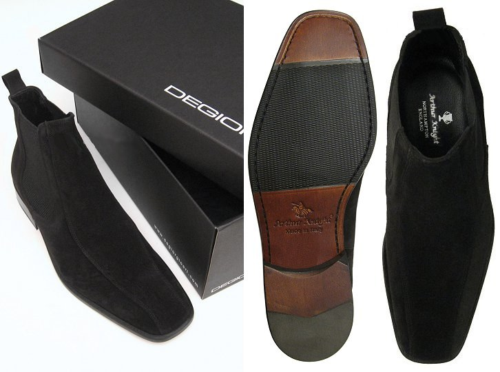 Chealsea Black Mens Suede Slip On Shoes