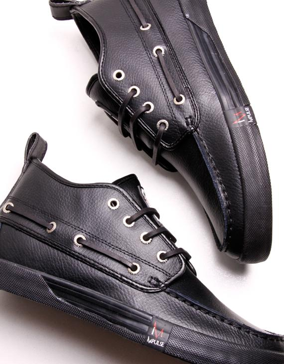 Custom Black Boat Shoes For Men