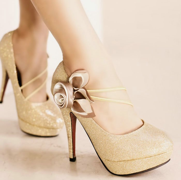 Elegant Discount Womens Dress Gold Shoes