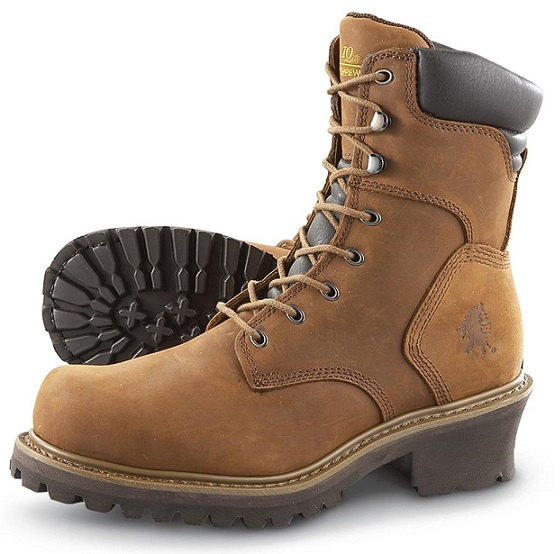 Genuine Brown Work Steel Toe Electric Hazard Shoes For Women