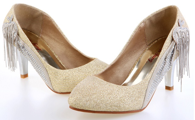 Genuine Silver Beaded High Heel Shoes For Women