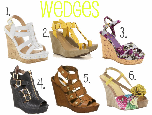 New White, Yellow, Brown, Floral Wedge Sandals For Women