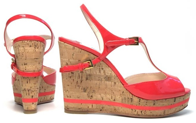Orange Prada Womens Wedges