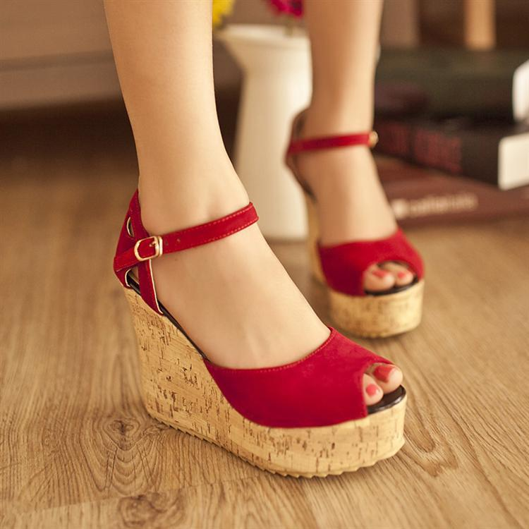 Red Womens Casual Leather Shoes