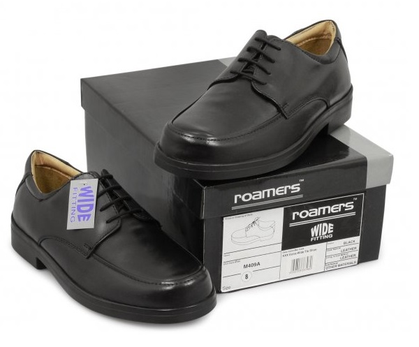 Roamers Black Mens Extra Wide Shoes