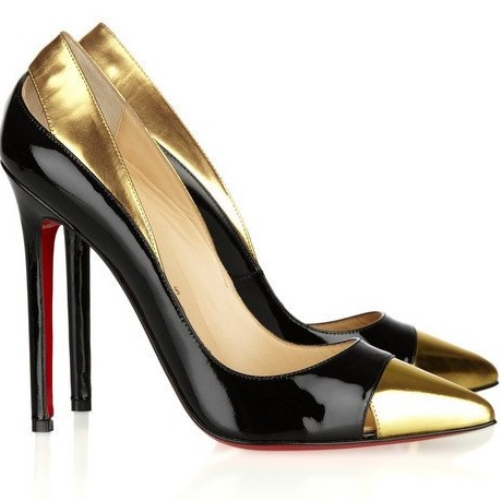 Gold and black dress shoes